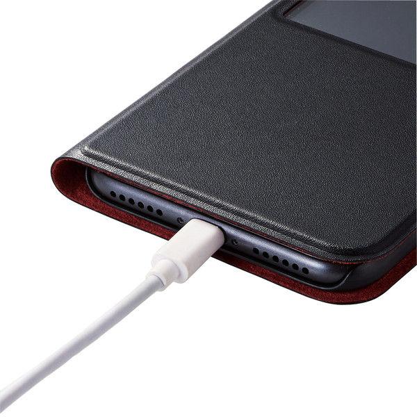 ELECOM iPhone8/ソフトレザーカバー/薄型/窓付/磁石付/ブラック PM-A17MPLFWTBK 1個 (直送品)