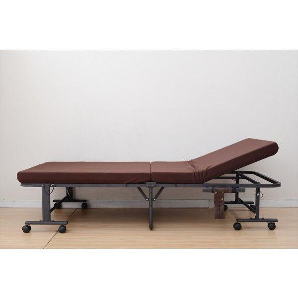 YAMAZEN 低反発折りたたみベッド 幅1010×奥行1950×高さ450mm シングル ダークブラウン (直送品)