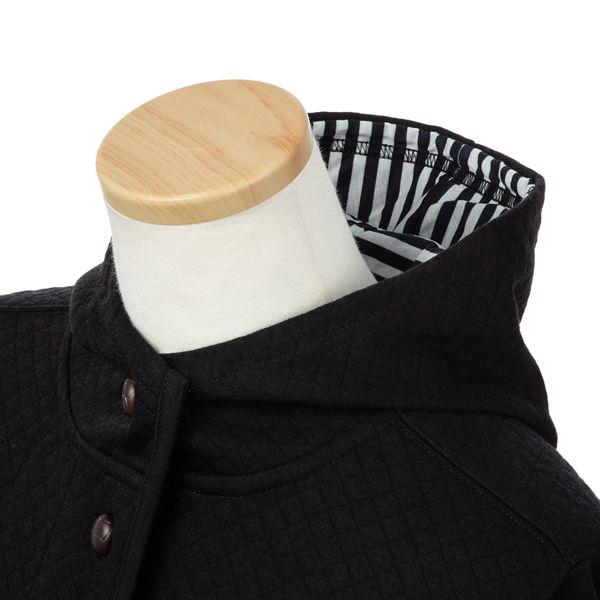 黒Lやわらかニット中わたキルトジャケット