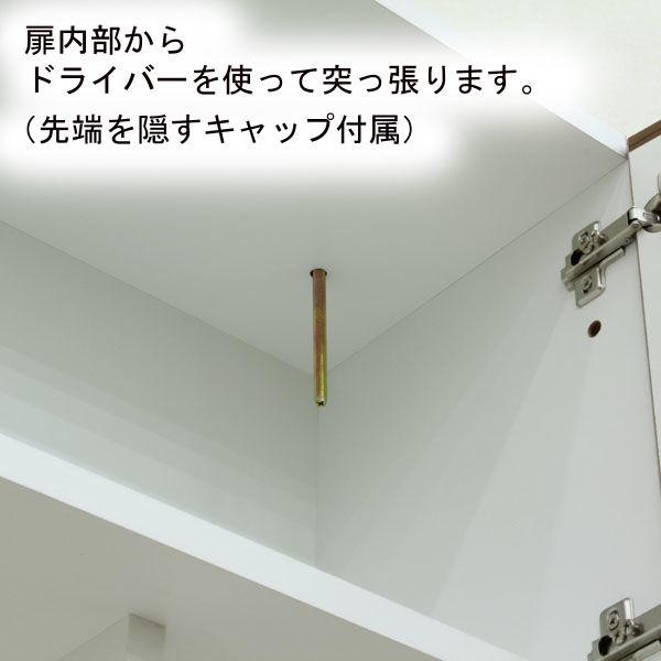 白井産業 リビュアル 壁面収納キャビネット 天井突っ張り ホワイト 幅1200×奥行313×高さ2380~2480mm 1台 (直送品)