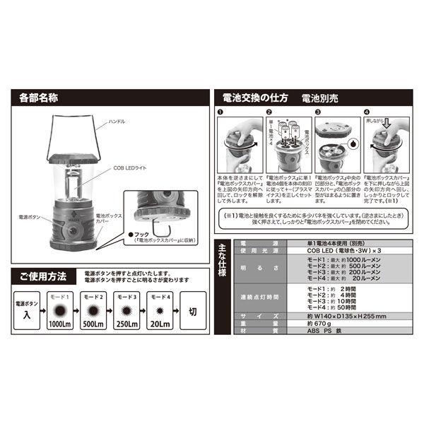 ムサシ・トレイディング・オフイス ランタン (電池別売)HLA1000 (直送品)