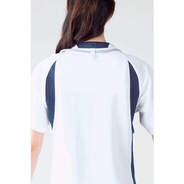 住商モンブラン アシックス スクラブジャケット(男女兼用) 半袖 ミント×ネイビー LL CHM301-0709 (直送品)