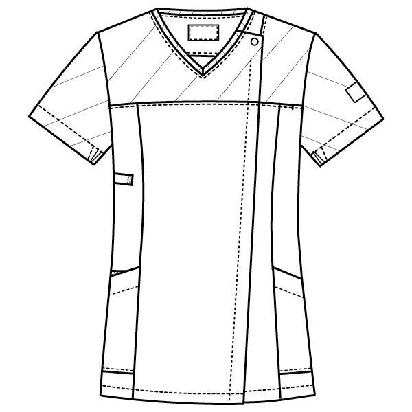 フォーク 医療白衣 ワコールHIコレクション レディスジップスクラブ (サイドジップ) HI701-12 ストエカス×ダークネイビー  LL (直送品)