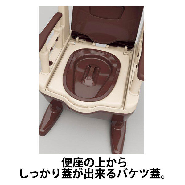 アロン化成 安寿 ポータブルトイレ ジャスピタ ソフト・快適脱臭 ベージュ 1台 533-924 (直送品)