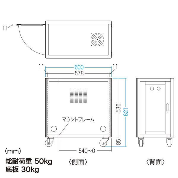 サンワサプライ 縦収納19インチマウントハブボックス(2U) W250×D600×H621mm CP-TH2UN 1台 (直送品)