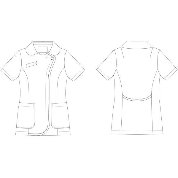 KAZEN レディスジャケット半袖 ホワイトXネイビー 3L 059-28 (直送品)