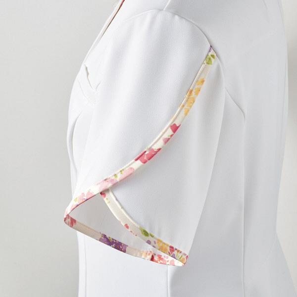 住商モンブラン ローラアシュレイ ナースジャケット レディス 半袖 オフホワイト×アメリピンク L LW802-12 (直送品)