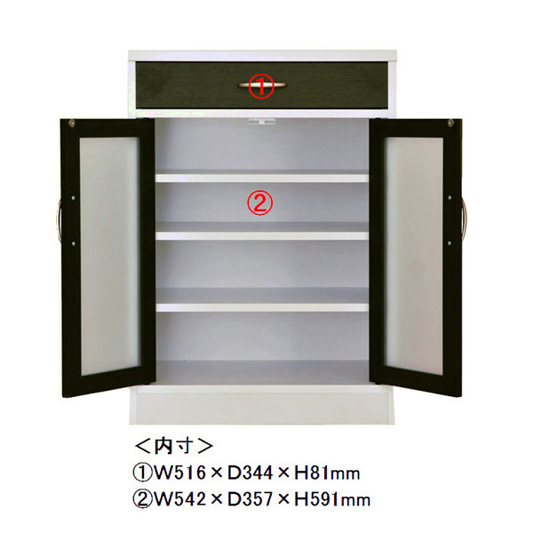 佐藤産業 カフェティラ キャビネト 幅580mm×高さ824mm ホワイト CT90-60GH 1台 (直送品)