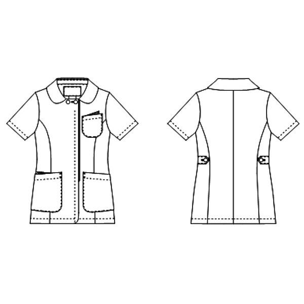 KAZEN レディスジャケット 医療白衣 半袖 ホワイトXネイビー LL 072-28 (直送品)