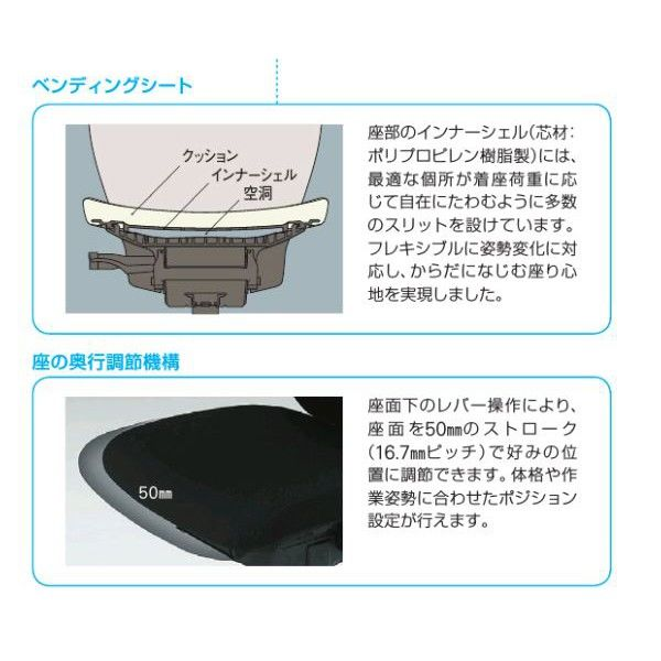 イトーキ エピオスチェア クロスタイプ ハイバック(グレー) 肘なし ロッキングレンジ調節 ターコイズブルー 1脚 (直送品)