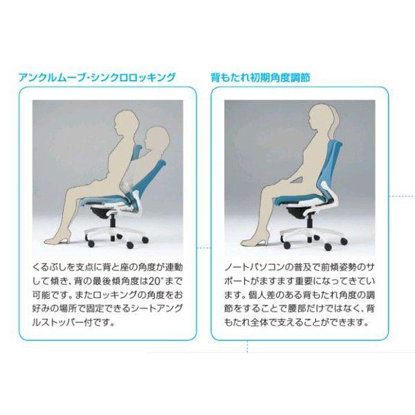 イトーキ エフチェア クロスバック ローバック ホワイトフレーム ホワイト樹脂脚 可動肘付 背座:ストロングブルー 1脚 (直送品)
