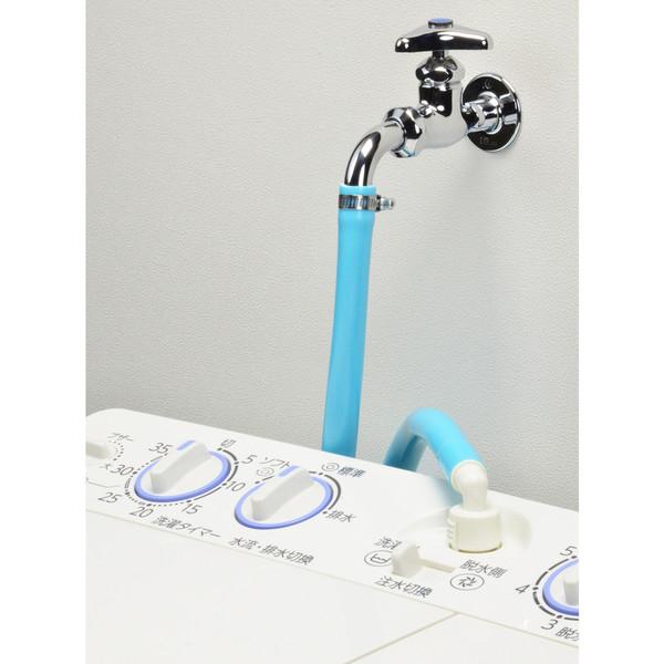 ガオナ 二槽式洗濯機用 給水ホース 4.0m (長さ調節可能 パステルブルー) GA-LC018 (直送品)