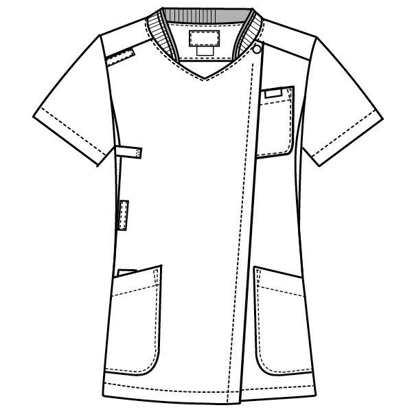 フォーク 医療白衣 レディスジップスクラブ 7043SC ダークネイビー×ダークネイビー S 1枚 (直送品)