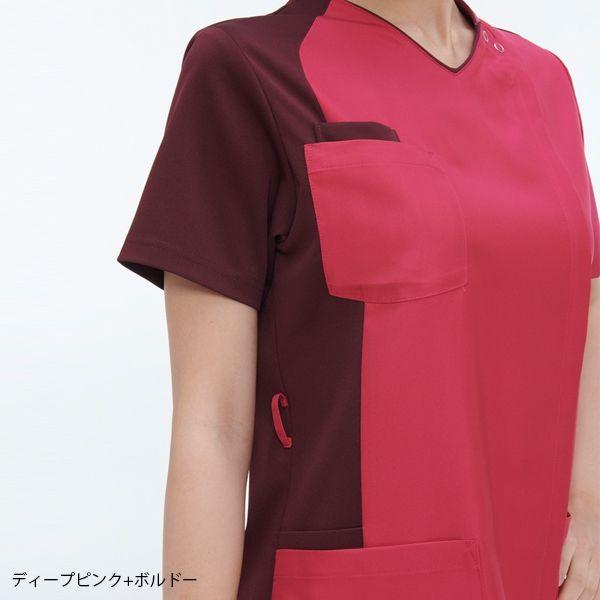 ナガイレーベン 男女兼用スクラブ ディープピンク+ボルドー LL RT-5407(取寄品)