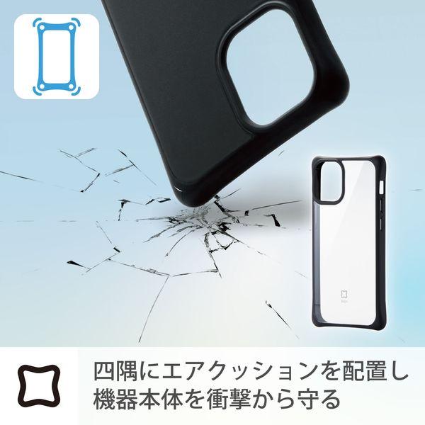 iPhone12miniケースカバー 耐衝撃 スリム TPU 持ちやすい ホールド感アップ クリアブラック PM-A20AHVHH1CRBエレコム1個(直送品)