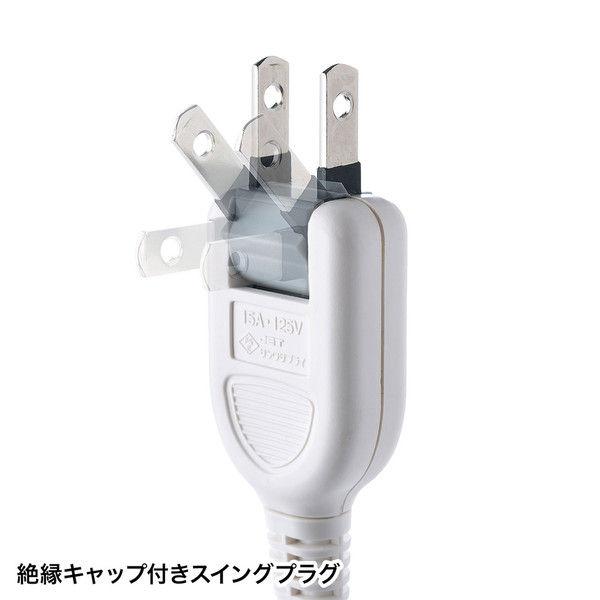 サンワサプライ マグネット付雷ガードタップ ホワイト 2P式/3個口/3m/マグネット付/ホコリ防止シャッター付 TAP-SP2113MG-3W 1個(直送品)