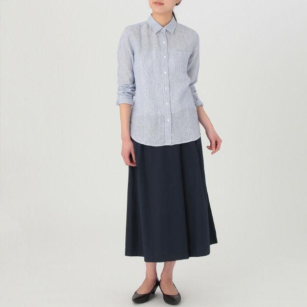 無印 洗いざらしストライプシャツ 婦人L