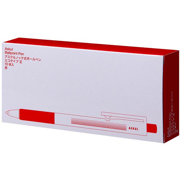 アスクル ノック式油性ボールペン エコタイプ3 0.7mm 赤 50本