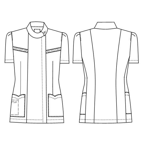 ナガイレーベン チュニック(ロールカラー) 医療白衣 半袖 ホワイト M FE-4522 (取寄品)