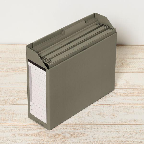 プラス ボックスファイル A4ヨコ 背幅100mm ダークグレー 1セット(5冊:1冊×5)