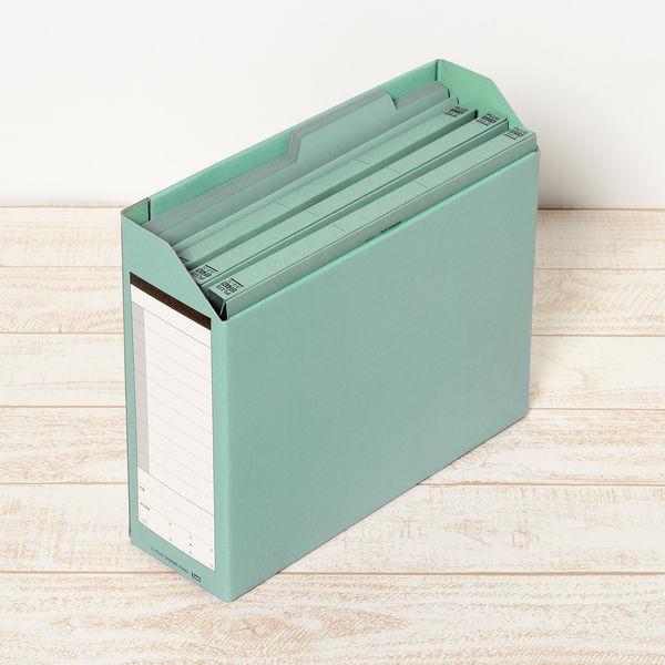 プラス ボックスファイル A4ヨコ 背幅100mm グリーン 1セット(5冊:1冊×5)