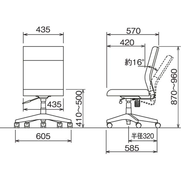 ナカバヤシ ワークレザーチェア オフィスチェア 肘無し ブラック 1脚 (直送品)