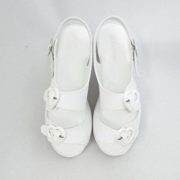 コマリヨー ハートサンダル(2本バンド) ホワイト M 1277-02 ナースサンダル 1足