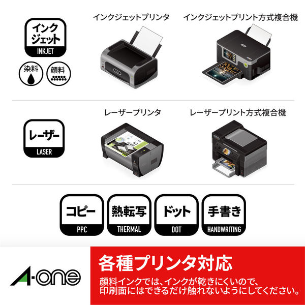 エーワン ラベルシール 表示・インデックスラベル プリンタ兼用 マット紙 白 A4 40面 1袋(18シート入) 31481(取寄品)