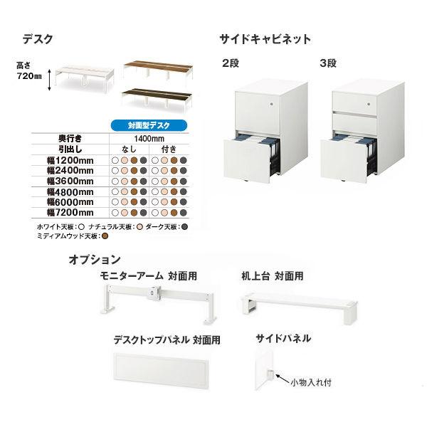 イトーキ(ITOKI) サリダLFデスク フリーアドレスデスク 引出し付き ホワイト  幅3600×奥行1400×高さ720mm  1台(15梱包)