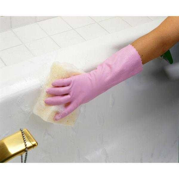 塩化ビニール手袋 簡易包装ワーキング中厚手 M ピンク 5双 「現場のチカラ」 111 ショーワグローブ