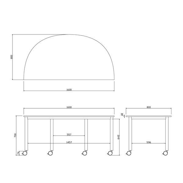 アール・エフ・ヤマカワ キャスターテーブル 半円形 ホワイト 幅1600×奥行800×高さ700mm 1台