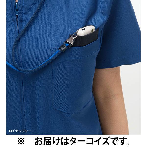 ナガイレーベン 男女兼用上衣 (スクラブ) 医療白衣 半袖 ターコイズ M RT-5072 (取寄品)