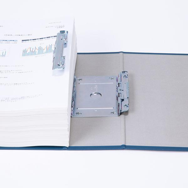 アスクル パイプ式ファイル(両開き) A4タテ とじ厚80mm ユーロスタイル ブルー