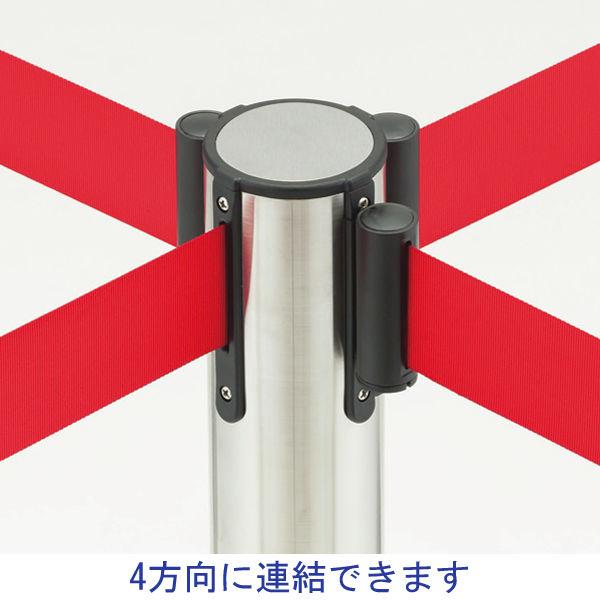Adatto 自動ロック機能付きべルトポールパーティション スタッキング マットブラック(レッドベルト) 1台(2梱包)