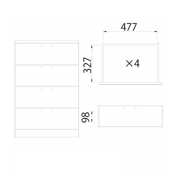 白井産業 横格子風の和家具 チェスト (直送品)