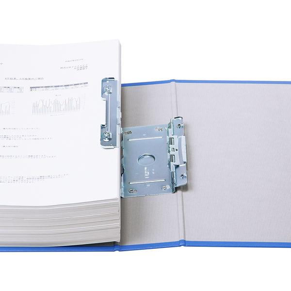 アスクル パイプ式ファイル 両開き ベーシックカラースーパー(2穴)A4タテ とじ厚60mm背幅76mm ブルー 3冊