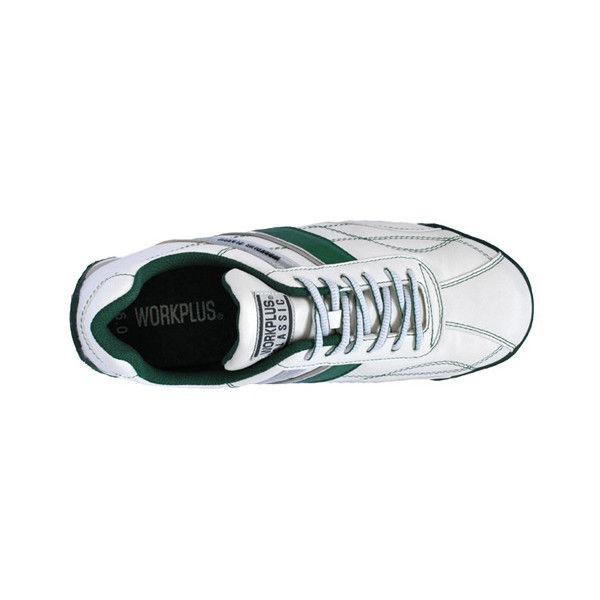 ミドリ安全 先芯入りスニーカー ワークプラスクラシック WPC-111 ホワイト/グリーン 25.5cm 2125058010 (直送品)