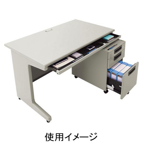 プラス 組立式スチールOAデスクシステム 平机 引出し付き エルグレー 幅1200×奥行600×高さ700mm 1台 (取寄品)