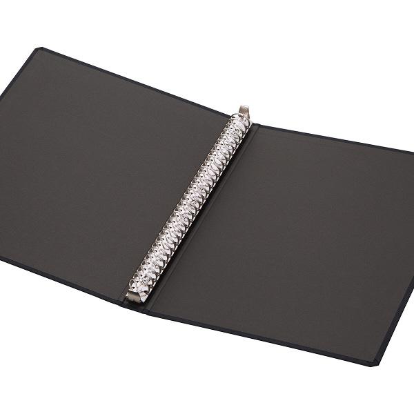 布貼りリングファイル 30穴 A4タテ 背幅34mm 3冊 アスクル ブラック
