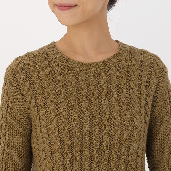 無印 アラン柄セーター 婦人 S 黄