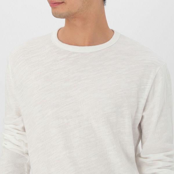 無印 ムラ糸長袖Tシャツ 紳士 M 白