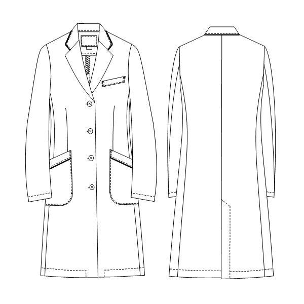 ナガイレーベン 女子シングル診察衣(ドクターコート ハーフ丈 シングル) FT-4550 Tネイビー M (取寄品)