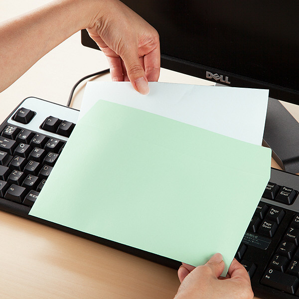 ムトウユニパック ナチュラルカラー封筒 長3横型 グリーン 500枚(100枚×5袋)