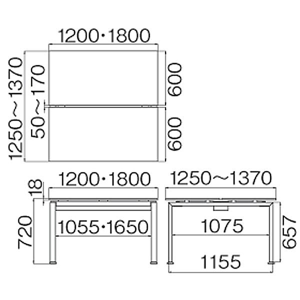 Ceha OAステーションデスク 幅1200mm天板 1連 ナチュラル 幅1200×奥行1250×高さ720mm 1台(3梱包) (取寄品)