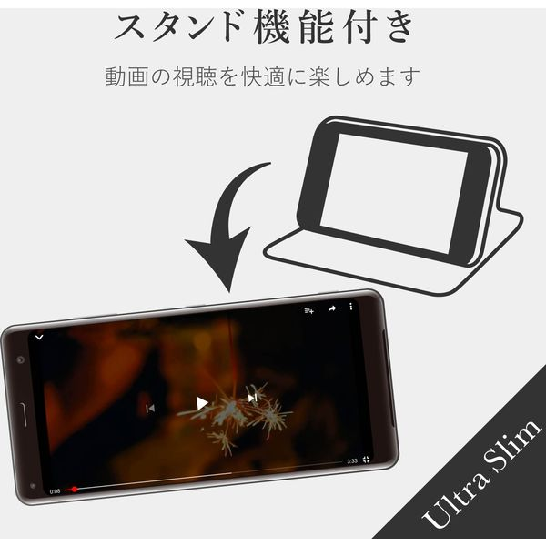 エレコム Xperia 8/ソフトレザーケース/薄型/磁石付/カーボン調(ブラック) PM-X8PLFUCB 1個(直送品)