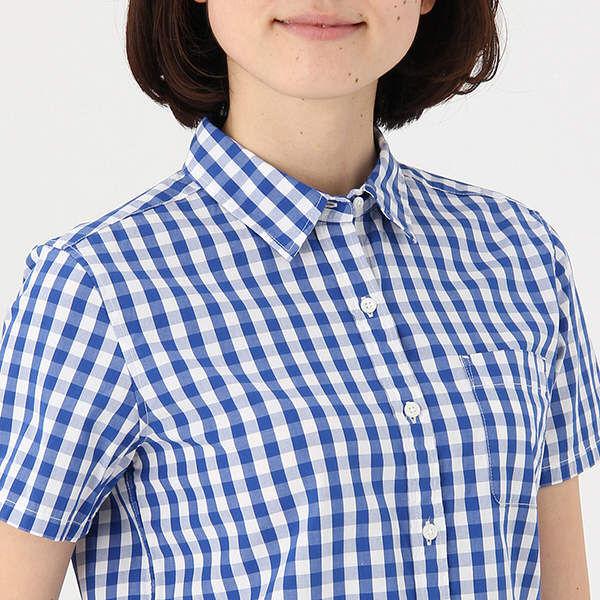 無印コットン洗いざらし半袖シャツ婦人 M