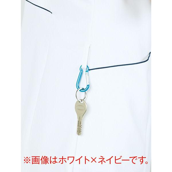 ラウンドカラーワンピース 半袖 73-1930 ホワイト 3L ナースワンピース (直送品)