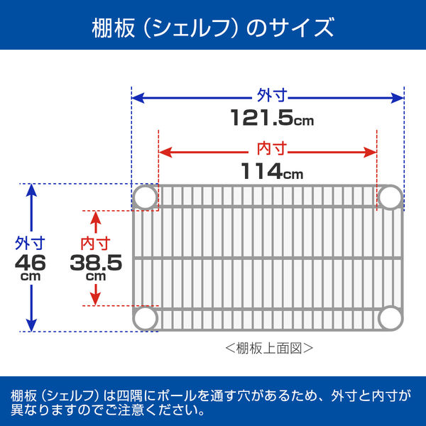 ルミナス ポール径25mm セット品 メタルラック 4段 幅1215×奥行460×高さ1565mm NLH1215-4