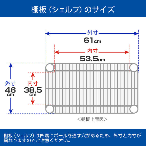 ルミナス ポール径25mm セット品 メタルラック 4段 幅610×奥行460×高さ1565mm NLH6015-4