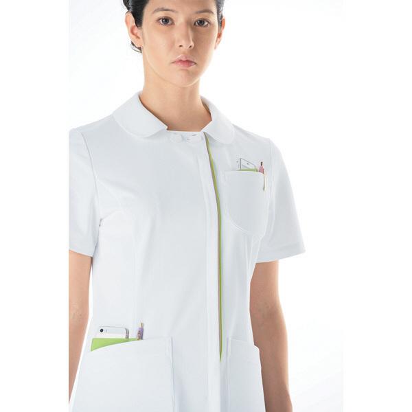 KAZEN レディスジャケット 医療白衣 半袖 ホワイトXオリーブ 3L 072-22 (直送品)